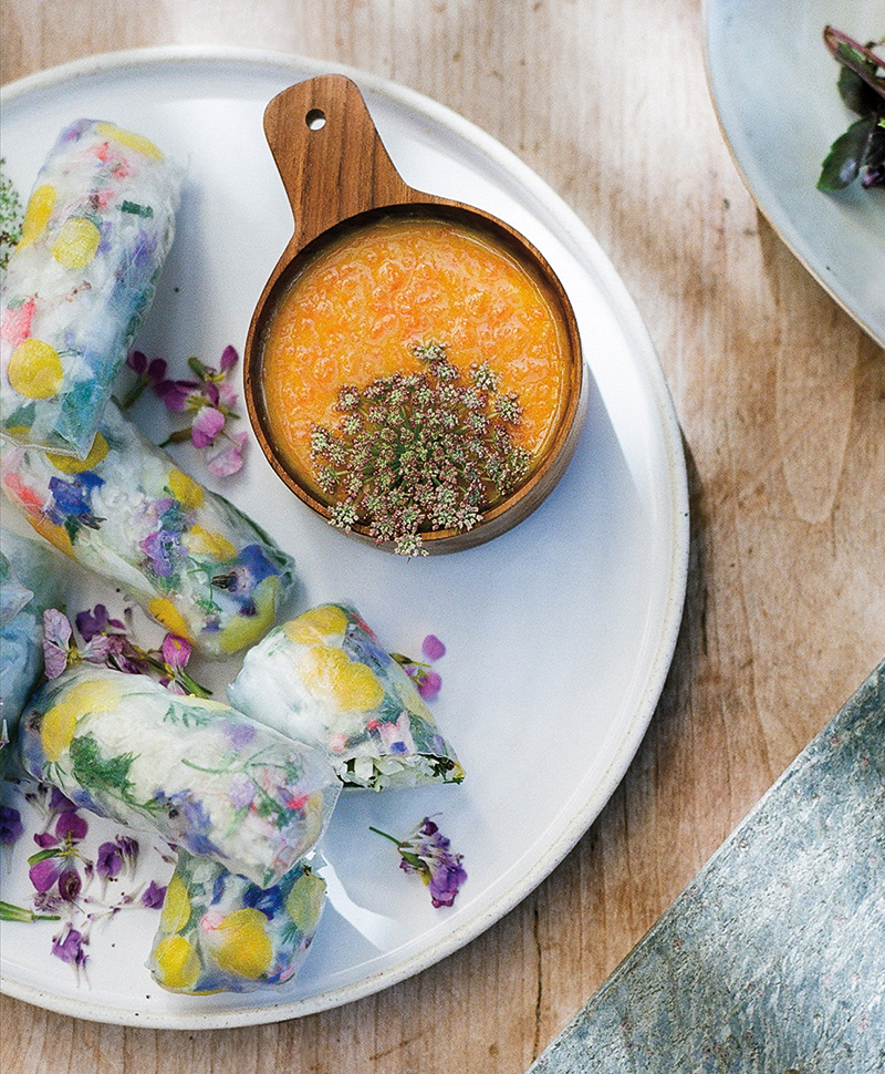 floral pantry floral spring rolls with carrot miso dip